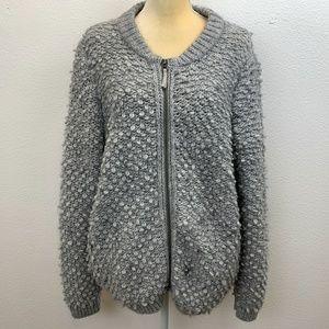 Lucky Brand Wool Alpaca Blend Bomber Cardigan